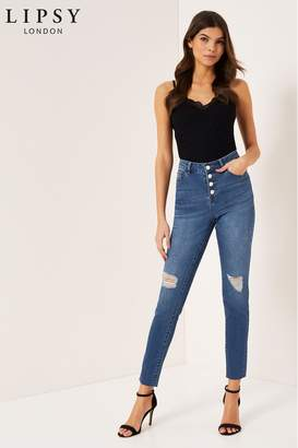 Lipsy Kate Mid Rise Skinny Button Front Regular Length Jeans - 6 - Blue