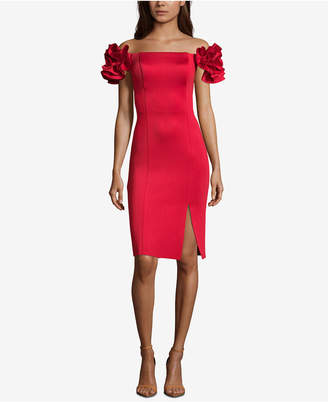 Betsy & Adam Ruffle-Sleeve Off-The-Shoulder Dress