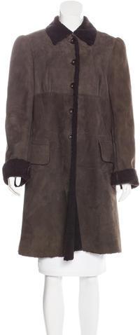 Miu MiuMiu Miu Suede Shearling Coat