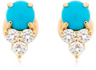 Ef Collection Diamond Trio & Turquoise Stud Earrings