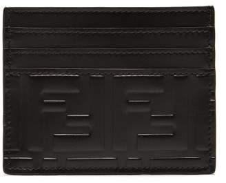 Fendi Logo Embossed Leather Cardholder - Mens - Black