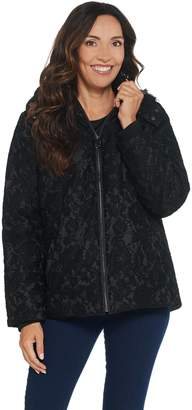 Dennis Basso Water Resistant Lace Puffer Jacket with Hood