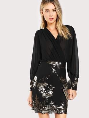 Shein Sequin Flower Semi-sheer Wrap Bodice Dress