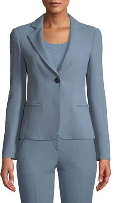 Emporio Armani Waffle-Weave One-Button Blazer Jacket