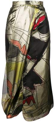 Chalayan pavement print metallic skirt