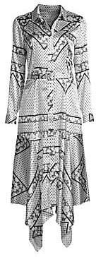 Ganni Women's Silk Stretch Satin Printed Shirtdress
