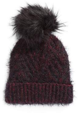 Echo Ribbed Faux-Fur Pom Beanie