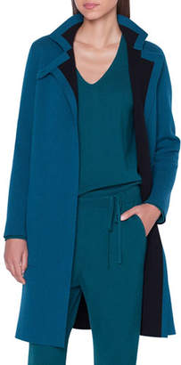 Akris Cashmere Mock-Neck Asymmetric Duster Cardigan