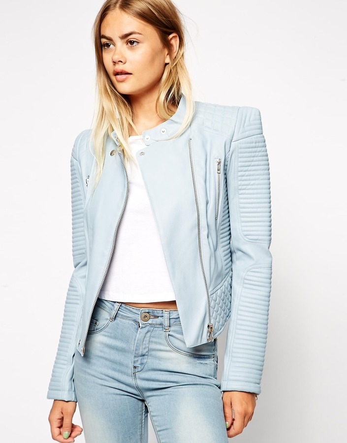 Asos Leather Look Jacket with Structured Shoulder