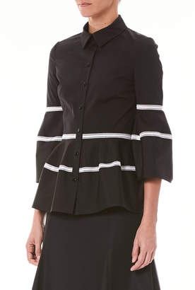 Carolina Herrera Bell-Sleeve Button-Front Shirt with Lace Stripes