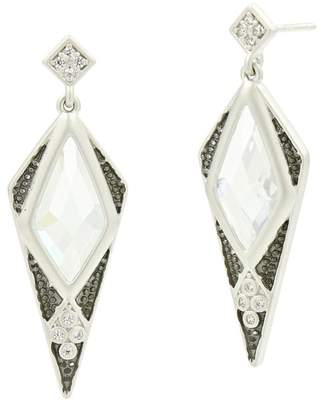 Freida Rothman Two-Tone Rhodium Plated Sterling Silver Industrial Bezel Set Faceted CZ Spike Drop Earrings