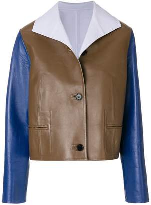 Marni colour block leather jacket