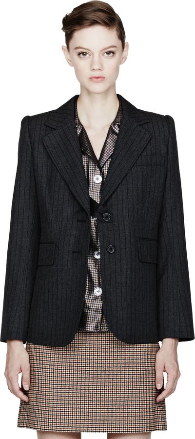Marc Jacobs Black Pinstriped Twill Menswear Blazer