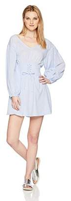 En Creme Junior's Long Sleeve Corset Lace-Up Mini Dress