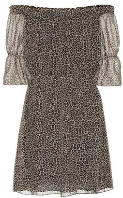 Saint Laurent Leopard virgin wool minidress