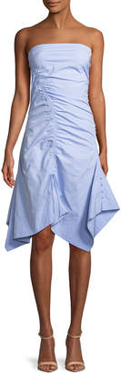 Tanya Taylor Dahlia Sleeveless Ruched Oxford Dress