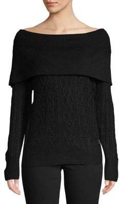 Tommy Hilfiger Textured Off-The-Shoulder Sweater
