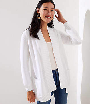 LOFT Ribbed Trim Open Pocket Cardigan