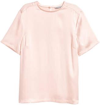 H&M Short-sleeved Silk Blouse - Orange