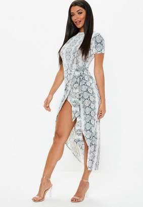 Missguided Stone Snake Print Short Sleeve Wrap Maxi Dress