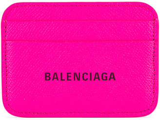 Balenciaga BB Card Holder in Acid Fuchsia & Black | FWRD