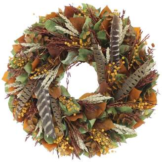 Floral Treasure Wheat and Feather Wreath