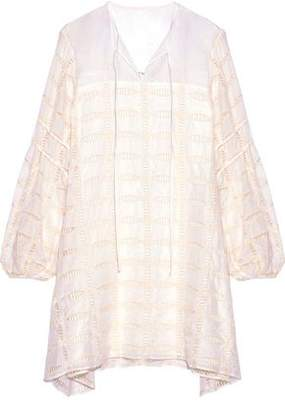 Tibi Bow-Detailed Embroidered Cotton And Silk-Blend Mini Dress