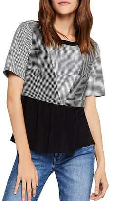 BCBGeneration Ruffle-Hem Windowpane Top