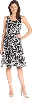 Kasper Women's 2 Tier Dress, Black/White