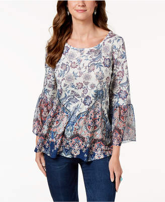 Style&Co. Style & Co Printed Flare-Sleeve Blouse