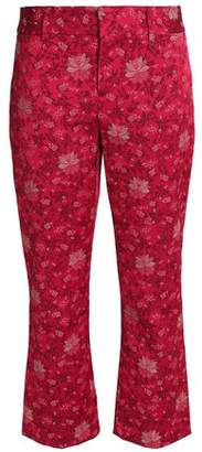Alice + Olivia Cropped Floral-Jacquard Bootcut Pants