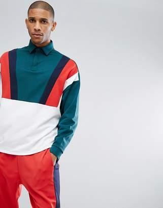 Asos Oversized Rugby Sweatshirt With Retro Color Block