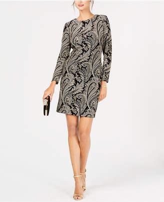 MSK Velvet Glitter-Print Dress