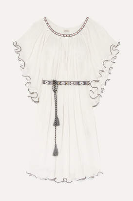 Talitha - Shore Serena Ruffled Embroidered Crinkled-cotton Dress - White