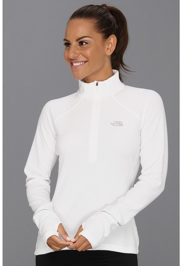The North Face TKA 80 Hybrid 1/2 Zip (TNF White/Metallic Silver) - Apparel