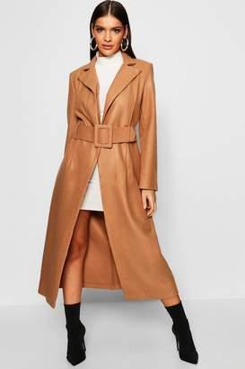 boohoo Covered Belt Wool Look Coat