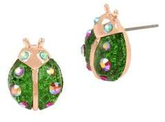 Betsey Johnson Fruit Flies Crystal Lady Bug Stud Earrings