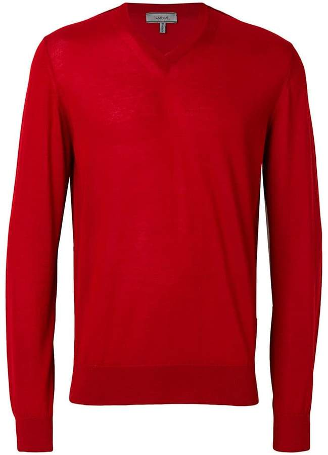 fine knit V-neck jumper