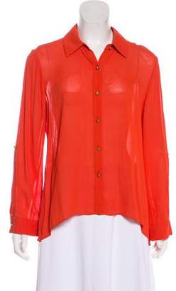 Alice + Olivia Long-Sleeve Button-Up Blouse