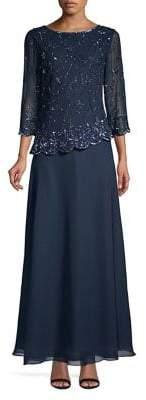 J Kara Petite Embellished Asymmetrical Gown