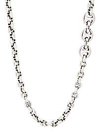 HOORSENBUHS Men's Tri-Link Chain Necklace-Silver