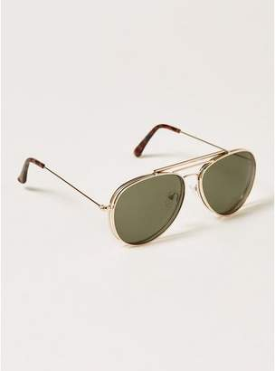 Topman Mens Black Gold Hunter Flip Sunglasses