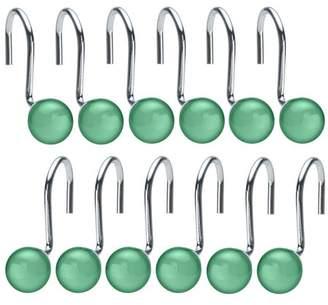 Image Shower Curtain Hooks Rings Set of 12 Decorative Home Crystal Rhinestone Green