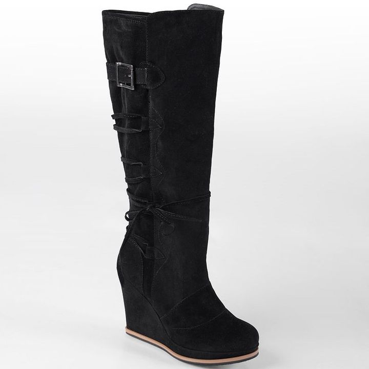 Journee Collection bree lace-up wedge boots - women