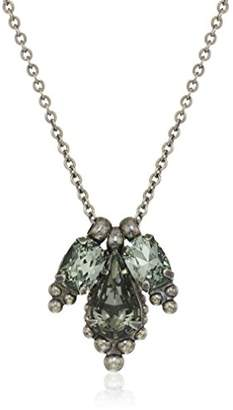 Sorrelli Core Antique Silver Tone Crystal Rock Embroidered Trifecta Pendant Necklace