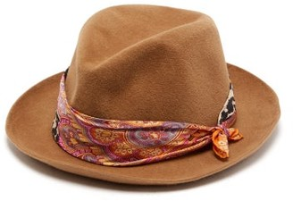 Etro Scarf Trimmed Hat - Womens - Camel