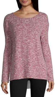 Liz Claiborne Long Sleeve Scoop Neck Knit Blouse