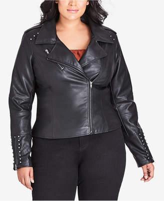 City Chic Trendy Plus Size Studded Faux-Leather Moto Jacket