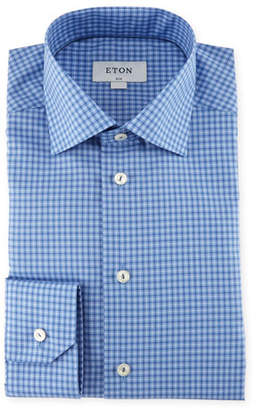 Eton Check-Print Cotton Dress Shirt