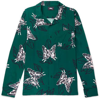 Stussy Camp-Collar Butterfly-Print Voile Shirt